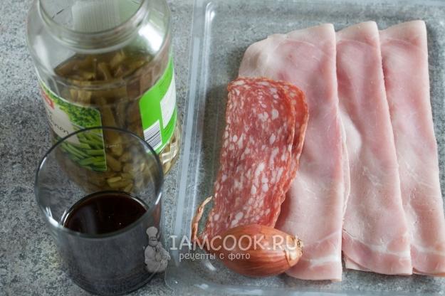 Ингредиенты для салата с зеленой фасолью и ветчиной