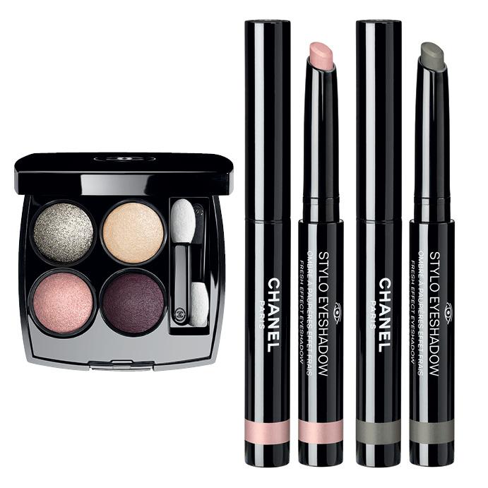 «Les 4 Ombres» Tisse Dimension; кремовые тени-карандаш «Stylo Eyeshadow» Rose Petale и Vert Grise