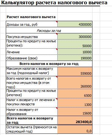 Калькулятор налогового вычета за обучение