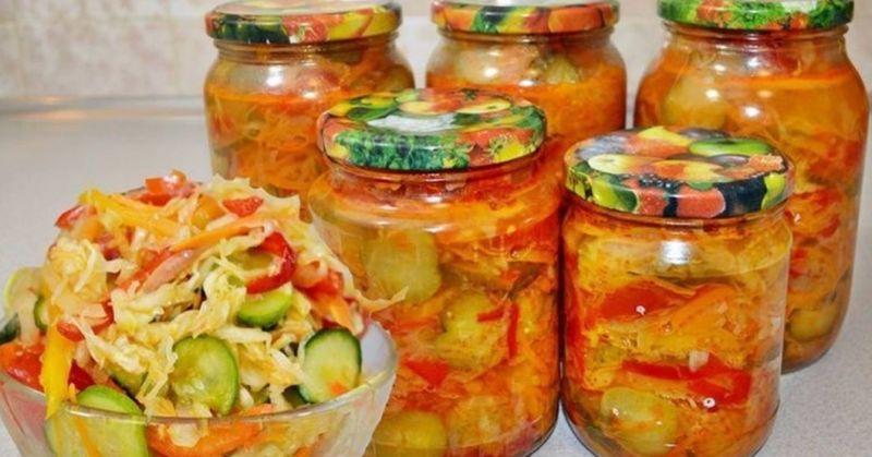 Салаты на зиму из капусты огурцов и помидоров на зиму