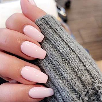 Light pink fake nails