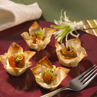 Won Ton Cups with Warm Passion Fruit Cream Cheese and Roasted Island Relish