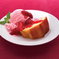 Angel Food Cake with Strawberry Glaze