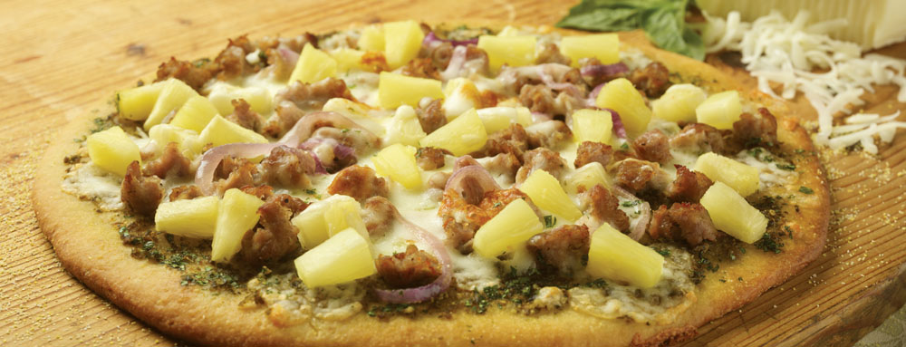 Photo of Sausage and Pesto Pineapple Pizza