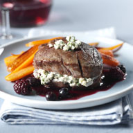Pan Seared Beef Fillet with Blue Cheese and Blackberry Blueberry Chocolate Port Sauce