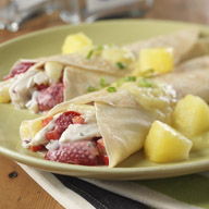 Chicken Pineapple and Strawberry Crepes