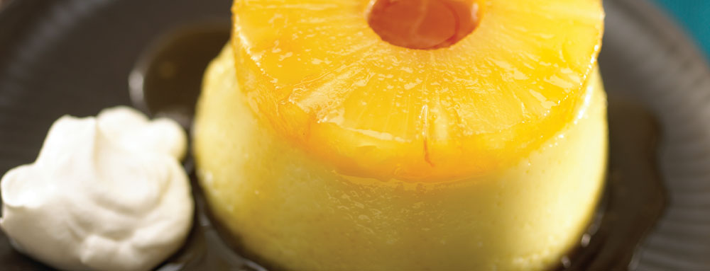 Photo of Pina Colada Creme Caramel with Pineapple Spiked Chantilly Cream