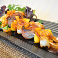 Southern Fruit Shrimp and Scallop Kabobs