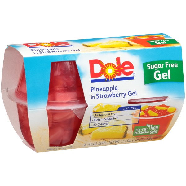 6/4 Pk/4.3 Oz. Pineapple In Sugar Free Strawberry Gel