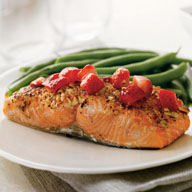 Almond Crusted Salmon Filet with Strawberries and Olives
