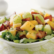 Melon n Bacon Salad with Honey Lemon Dressing