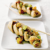 Mini Chicken Roulades with Melon and Crispy Bacon