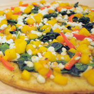 Spinach and Peach Pizza with Goat Cheese