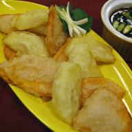 Sweet Potato and Apple Tempura with Mirin Sauce