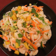 Vietnamese Noodle Salad with Shrimp Peaches and Mint