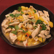 Vietnamese Chicken Stir fry with Peaches and Mint