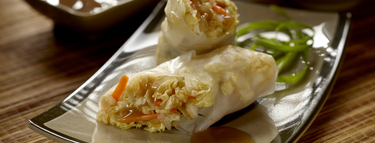 Photo of Carrot Rice Wraps with Cabbage and Cilantro