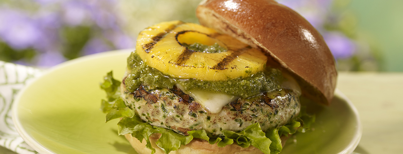 Photo of Grilled Pineapple and Pesto Turkey Burgers