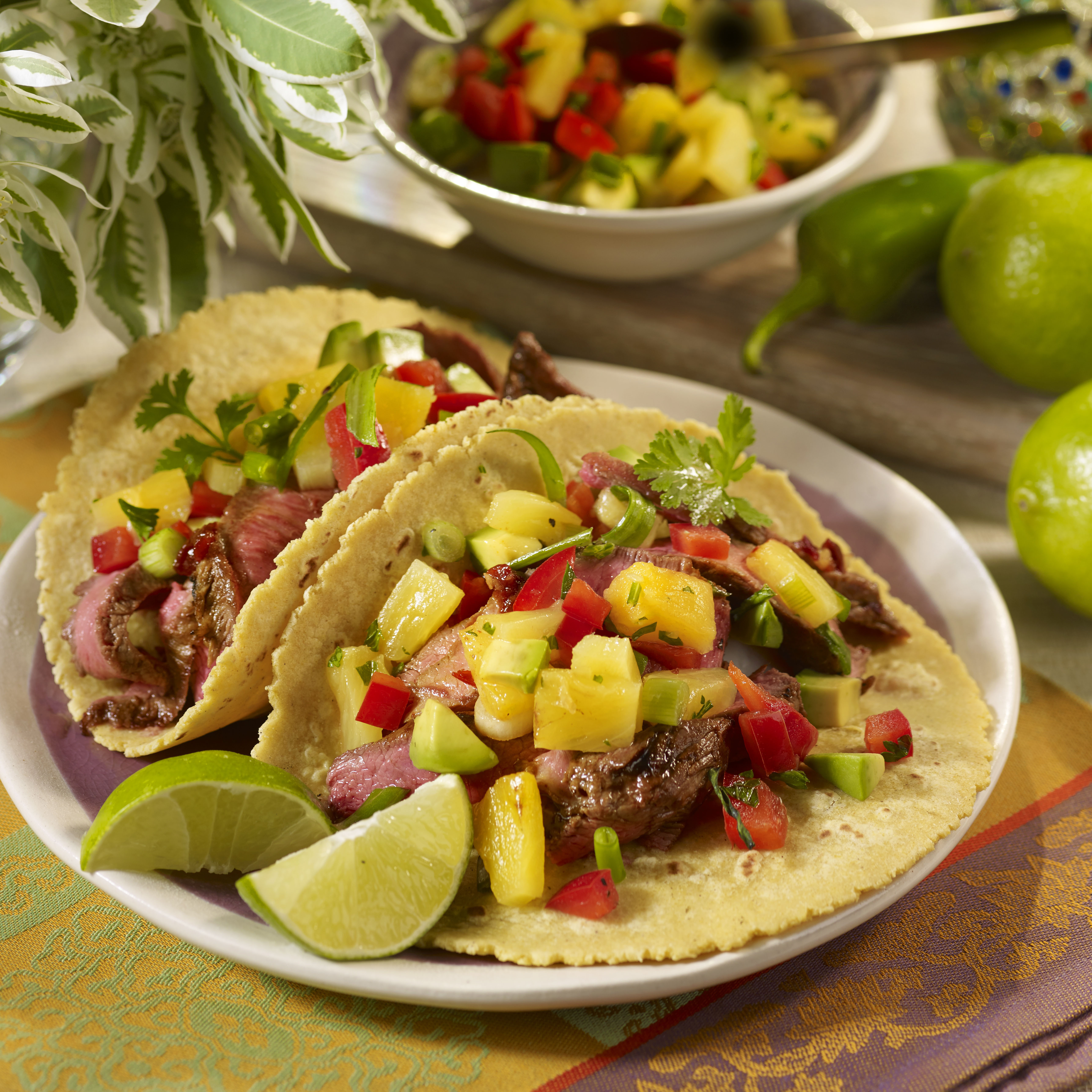 Chipotle Steak Tacos with Pineapple Avocado Salsa