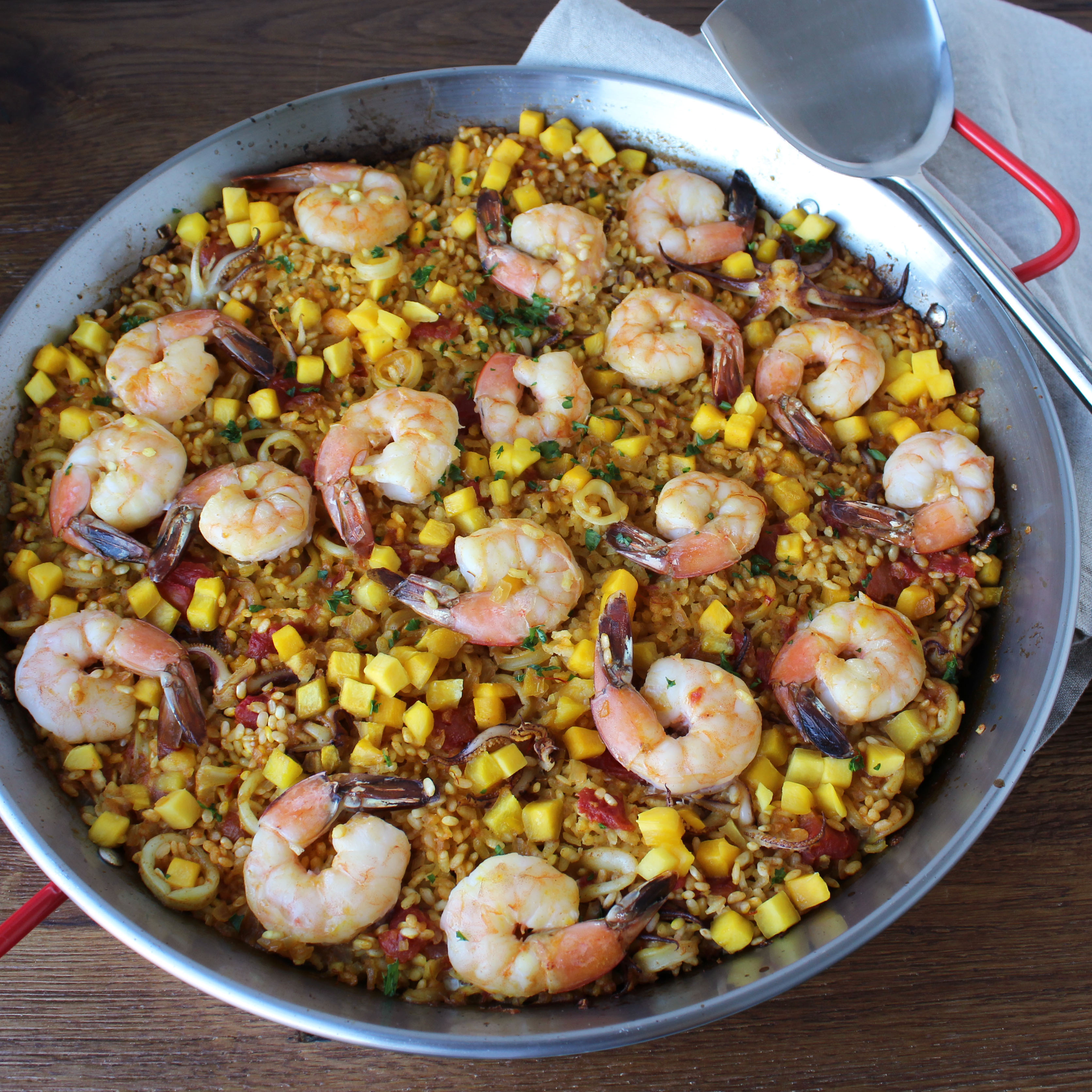 Mango and Seafood Paella Bowl