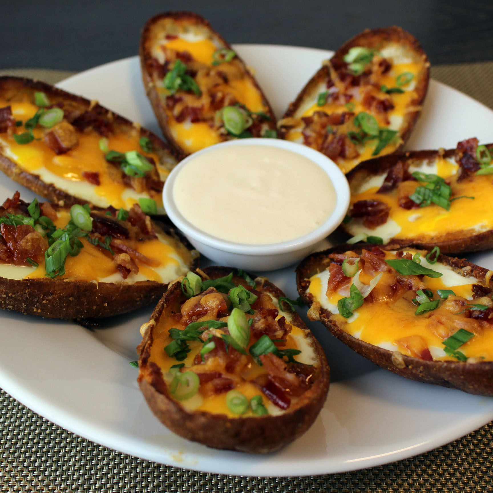 Breakfast Potato Skins Bowls with Peach Sour Cream