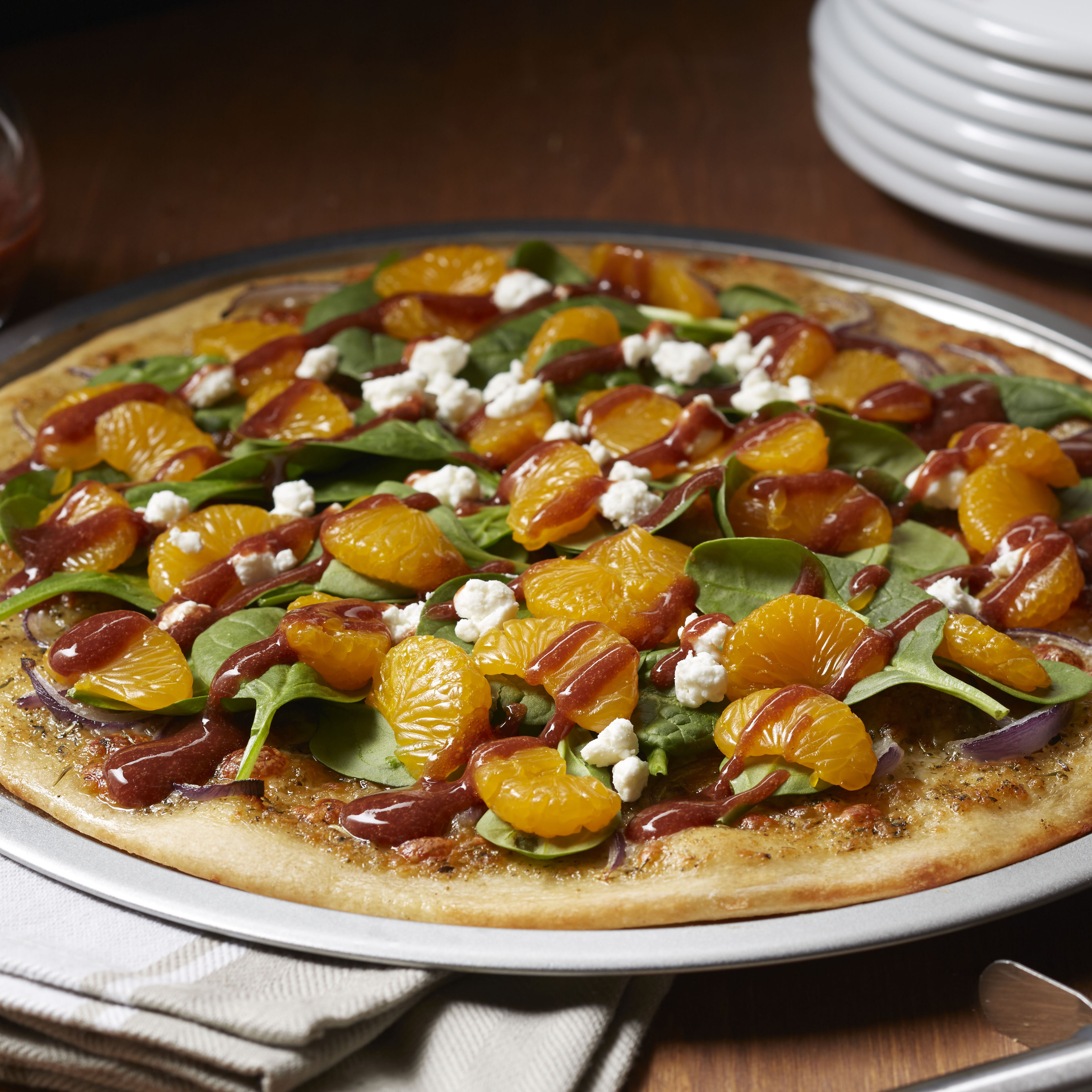 Spinach and Mandarin Pizza with Strawberry Balsamic Vinaigrette