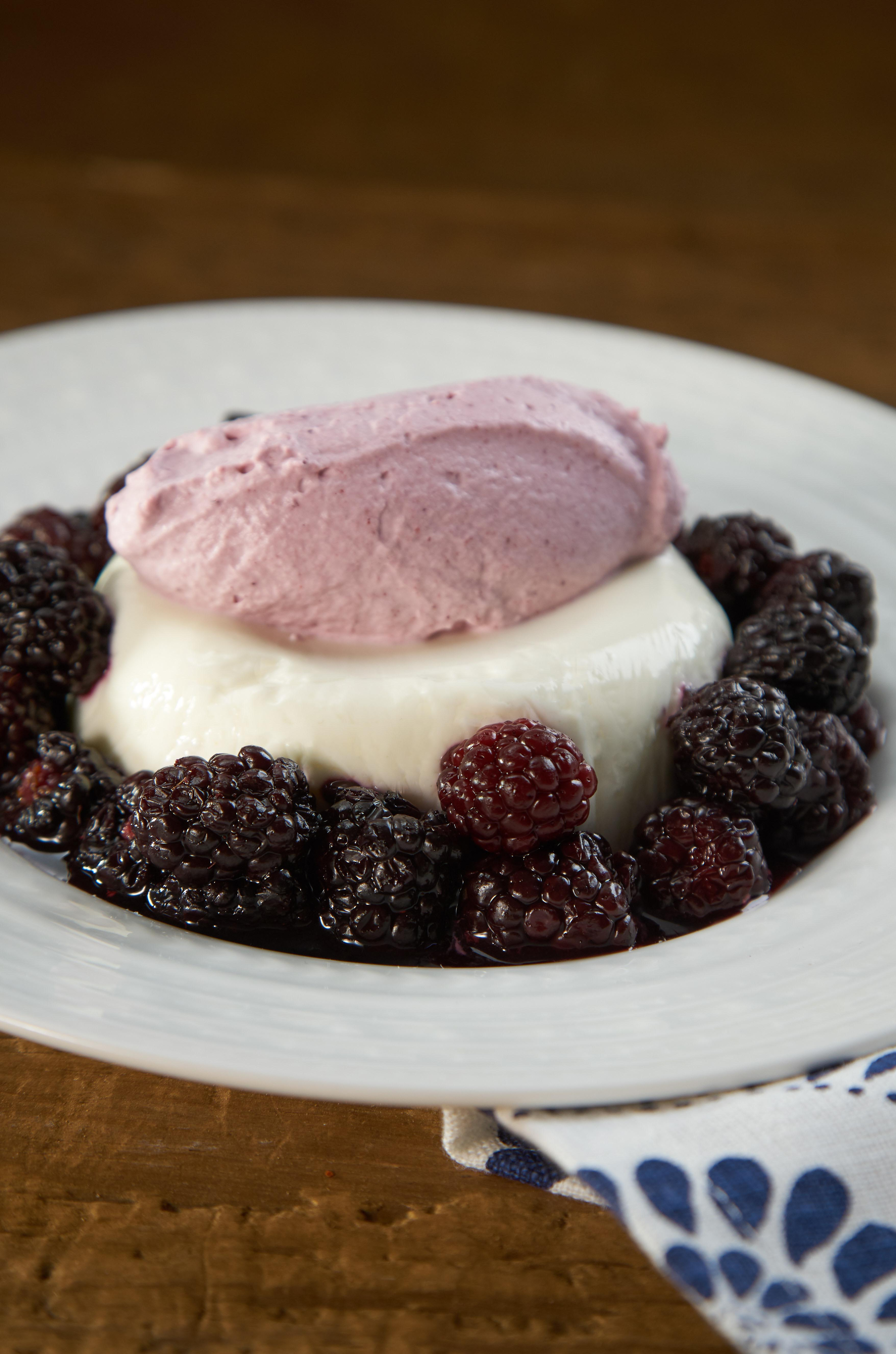 Photo of Creme Fraiche Panna Cotta with Blackberry Chantilly