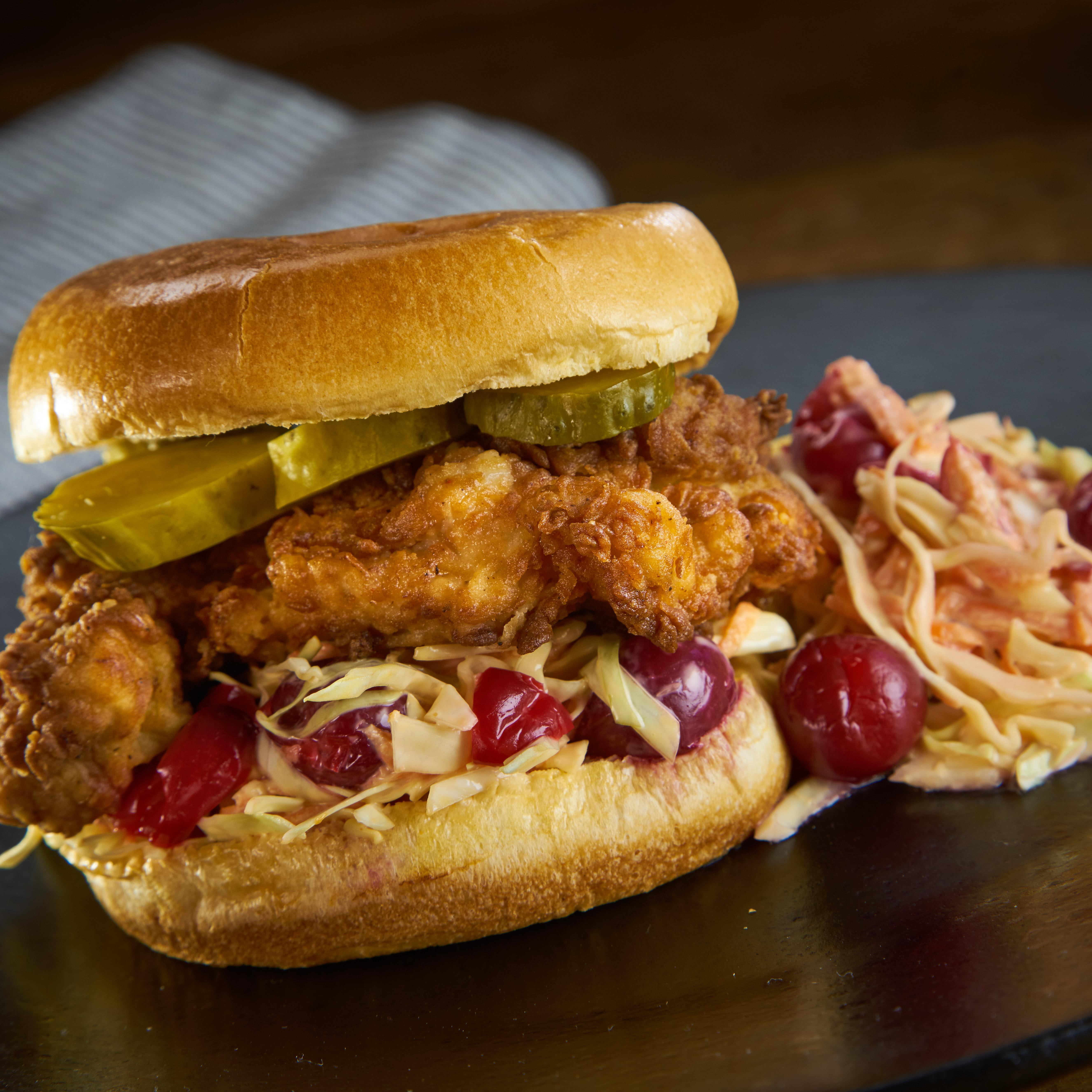Sorghum Fried Chicken Sandwich with Cherry Slaw