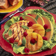 Grilled Chicken and Fruit Salad with Pineapple Mint Dressing