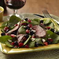 Berry Spinach Salad with Steak
