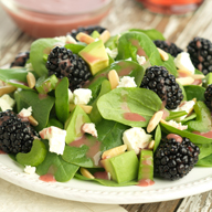 Blackberry Salad with Greens and Feta Cheese