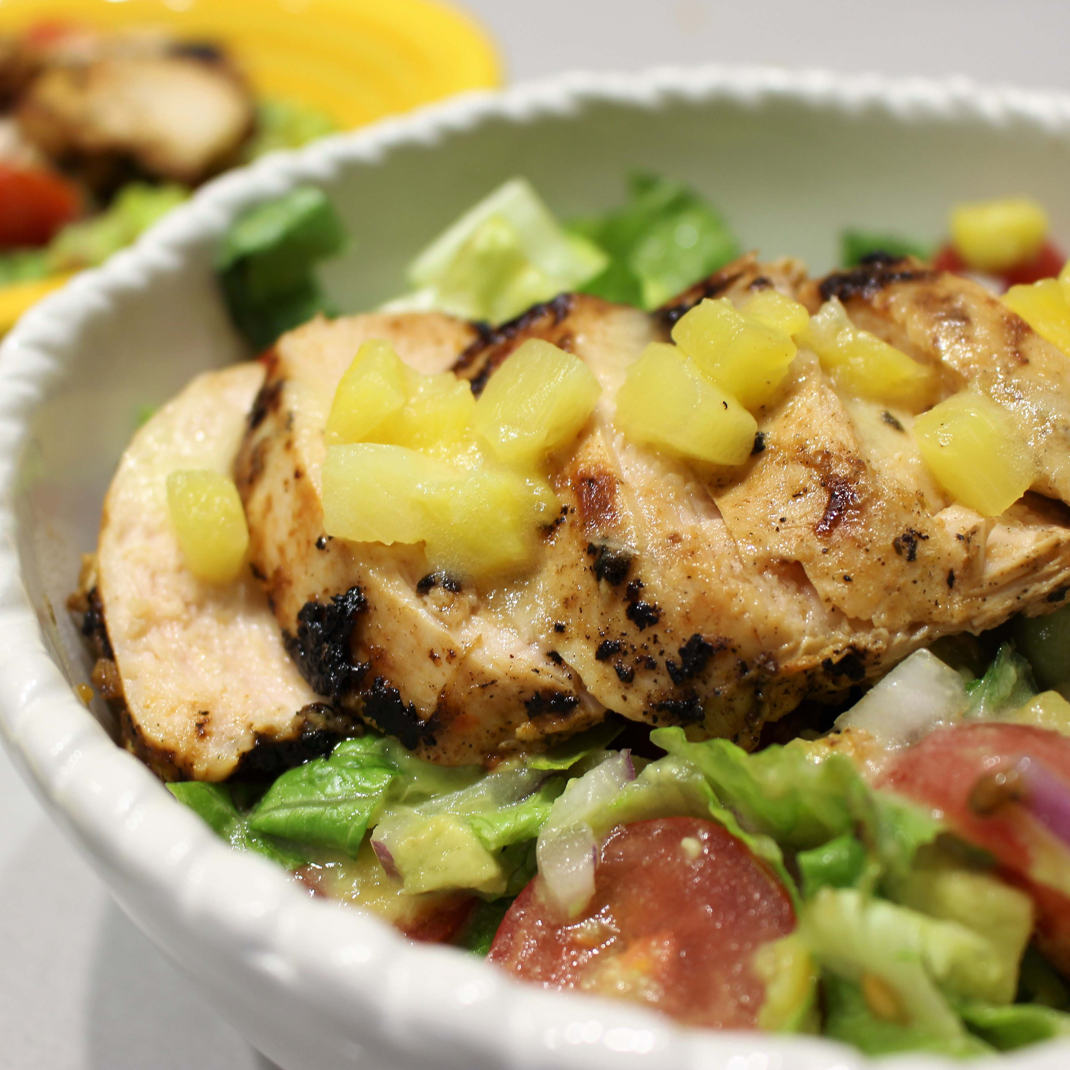 Grilled Piri Piri Chicken Pineapple Salad Bowl