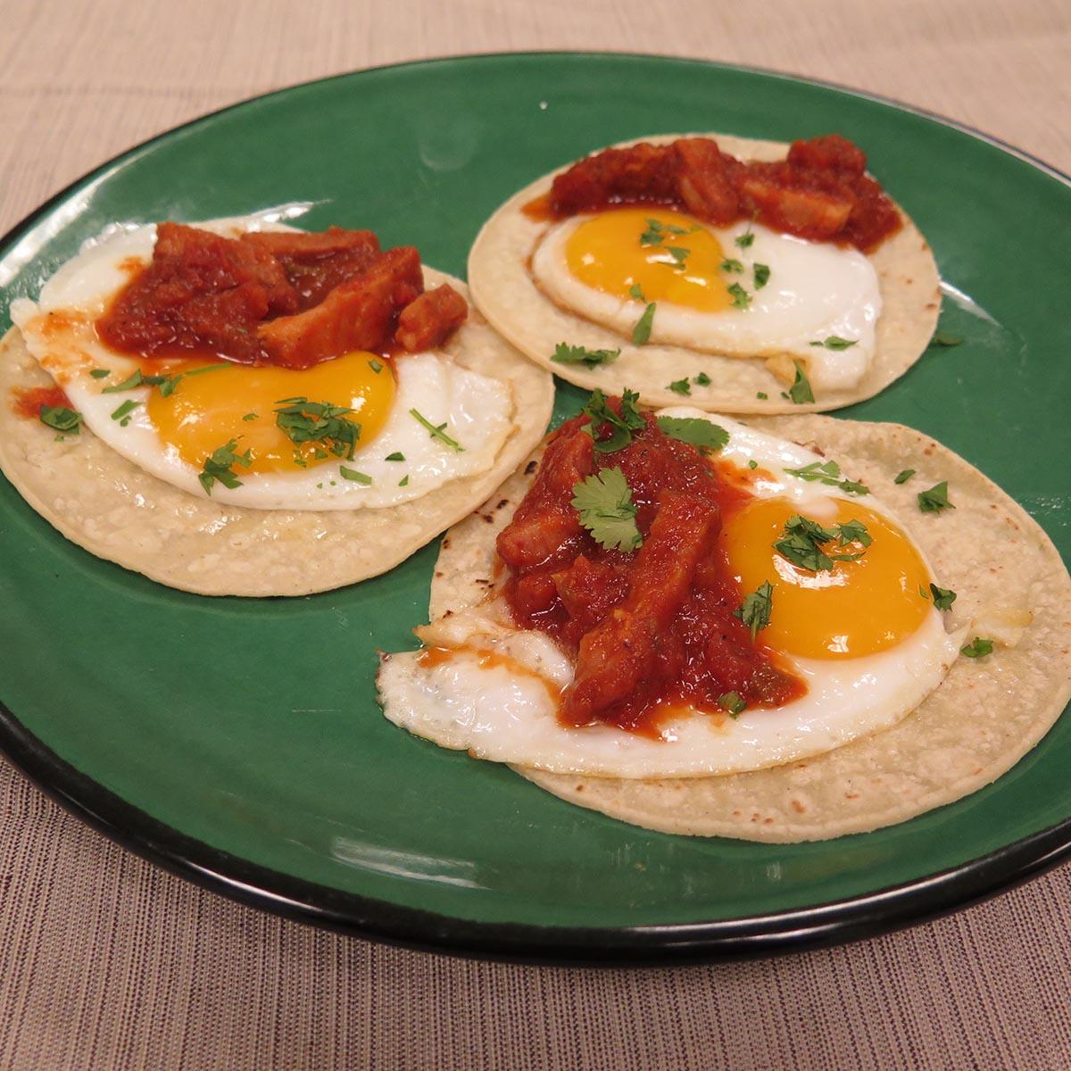Huevos Rancheros with Spicy Sofrito Ham