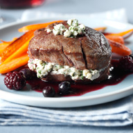 Pan Seared Beef Filet with Feta Cheese and Blackberry Chocolate Port Sauce
