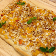 Peach and Almond Breakfast Pizza