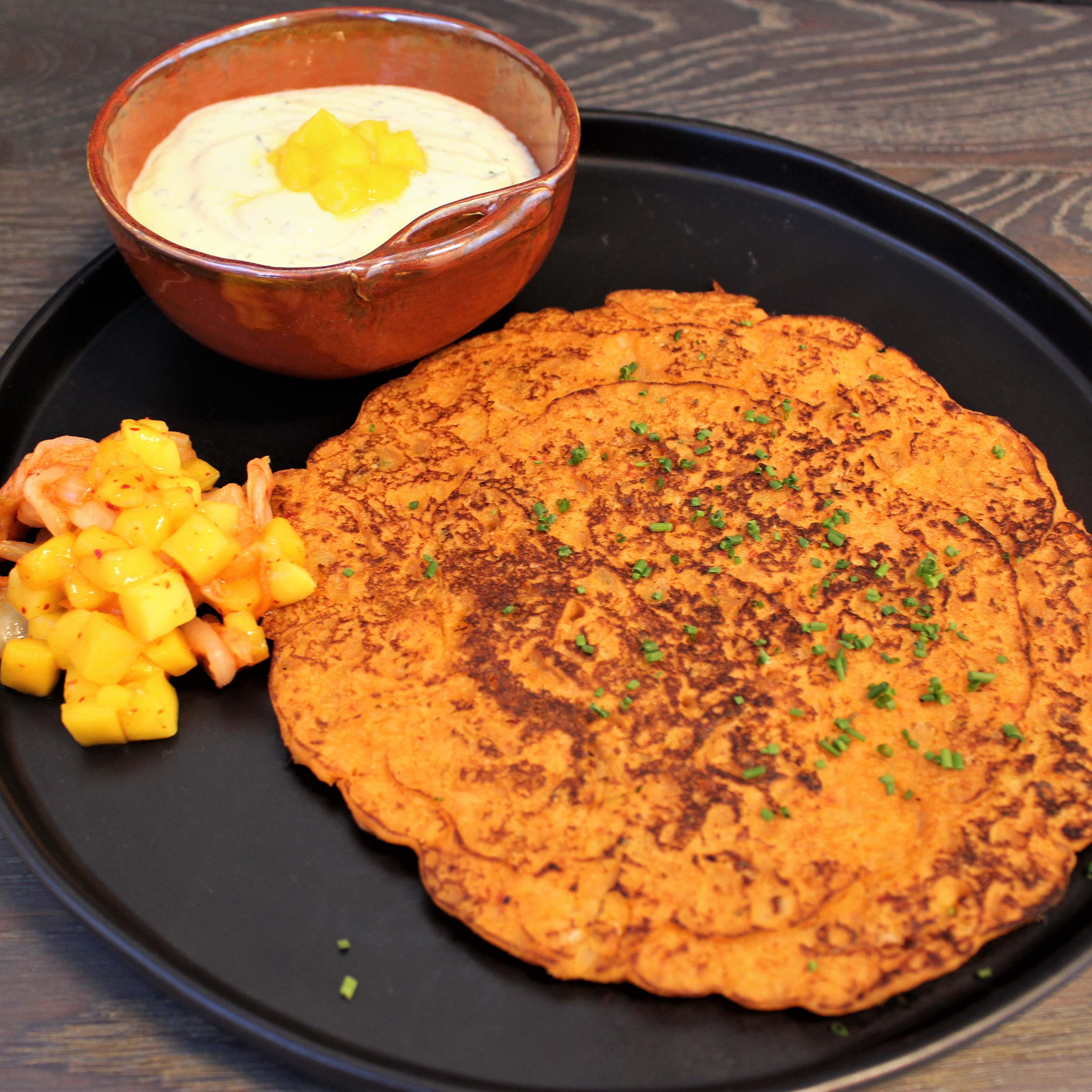 Red Papaya Kimchi Pancakes