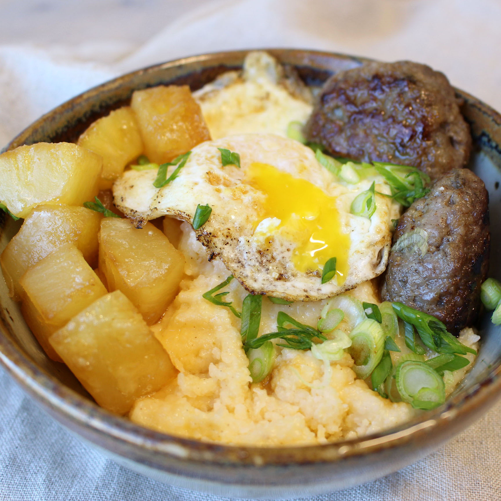 Sausage Pineapple and Grits Bowl