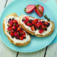 Strawberry and Olive Bruschetta with Goat Cheese
