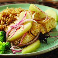 Tea Poached Halibut with Pickled Apples