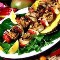Tropical Fruit Glazed Shrimp & Plantain Skewers