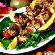 Tropical Fruit Glazed Shrimp & Plantain Skewers