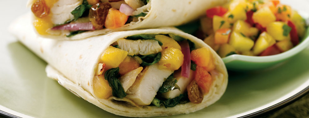 Photo of Warm Spinach Wrap with Chicken and Peaches