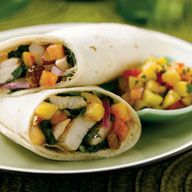 Warm Spinach Wrap with Chicken and Peaches