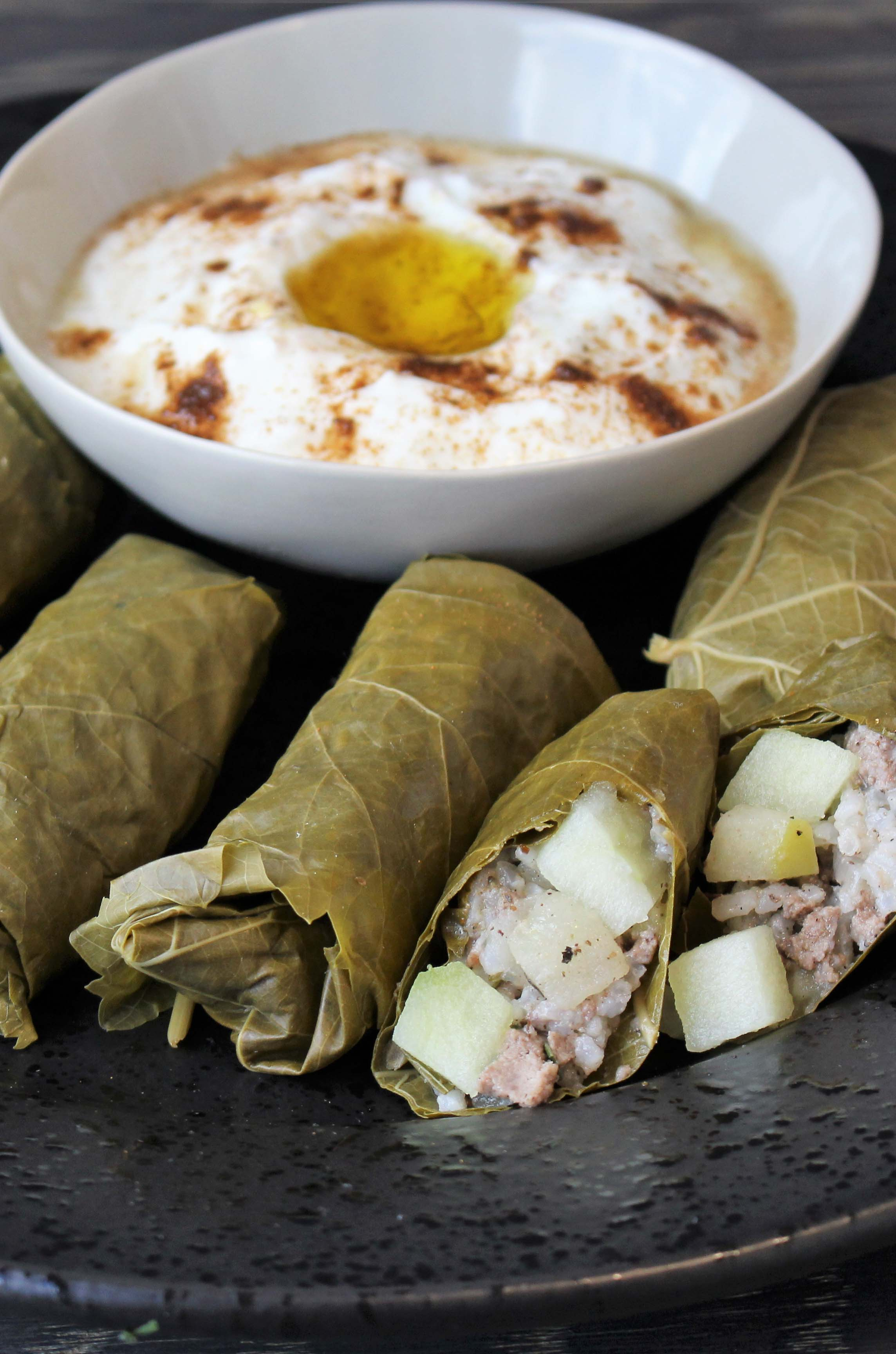 Photo of Zaatar Apple and Beef Stuffed Grape Leaves