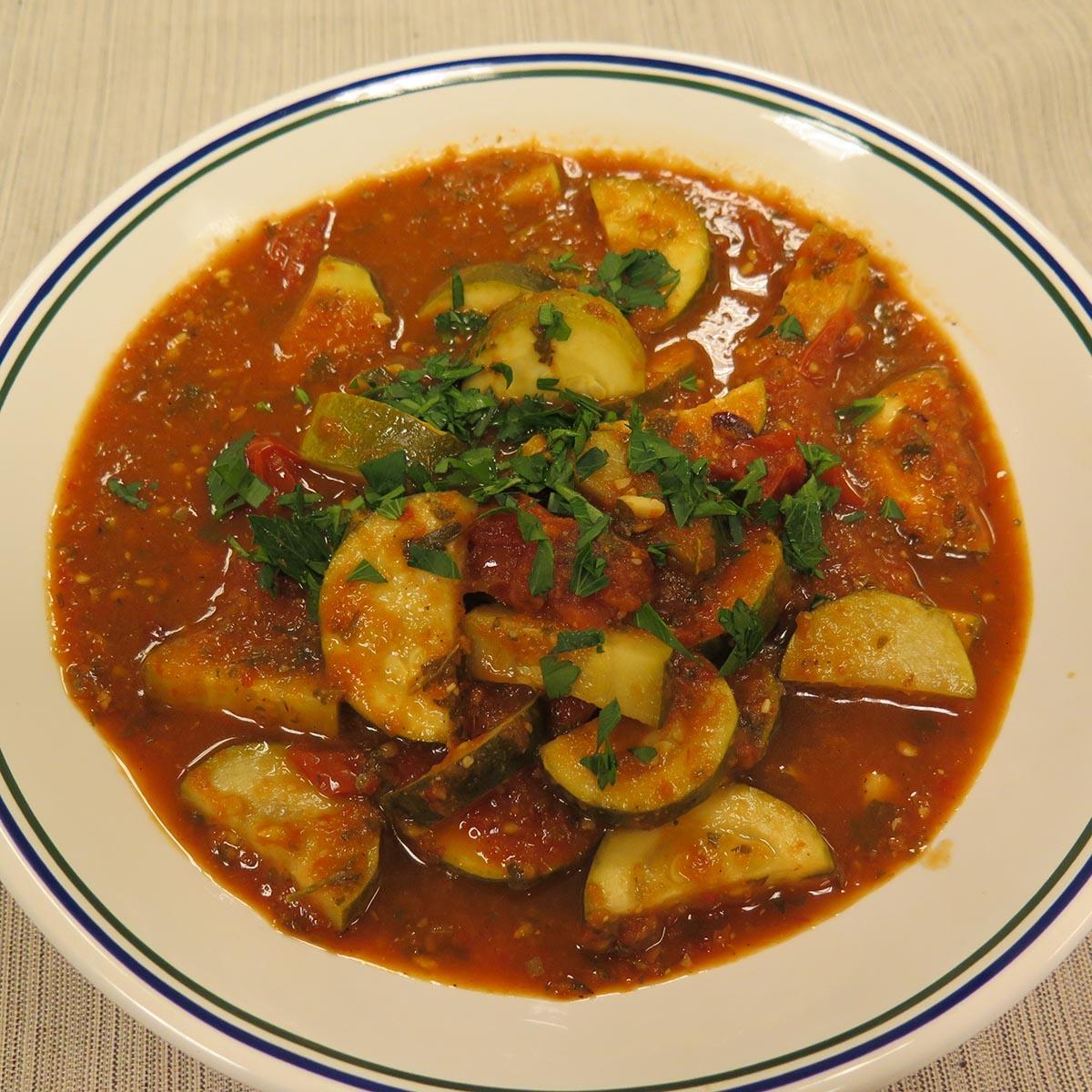 Zucchini in Cuban Style Cherry Tomato Sofrito