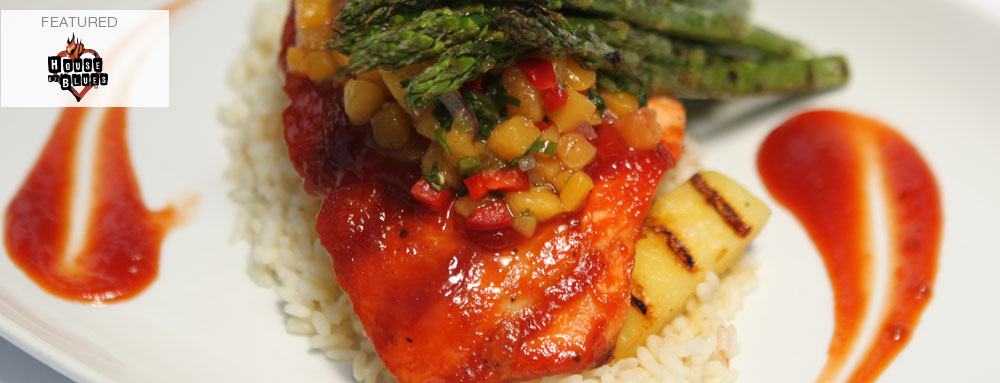 Photo of BBQ Glazed Salmon with Grilled Pineapple Spears and California Peach Salsa