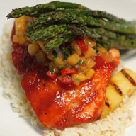 BBQ Glazed Salmon with Grilled Pineapple Spears and California Peach Salsa
