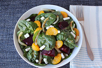 Beet Mandarin Spinach Salad Bowl