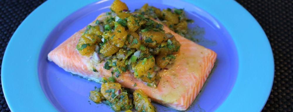 Photo of Miso Glazed Salmon Topped with Mandarin Orange Salsa