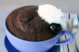 Microwave Chocolate Cherry Souffle Bowl
